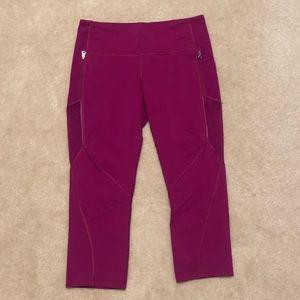 Lululemon Dark Pink Mesh Capri Leggings Size 12